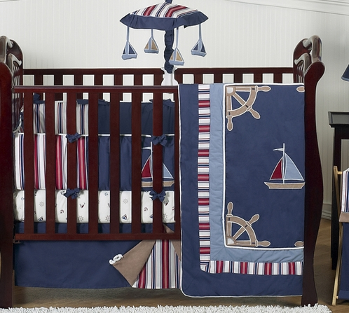 Nautical Nights Boys Sailboat Baby Bedding - 9 pc Crib Set - Click to enlarge