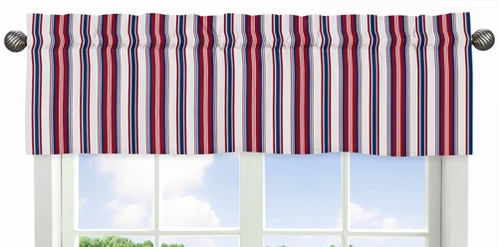 Red White And Blue Stripe Window Valance For Nautical Nights