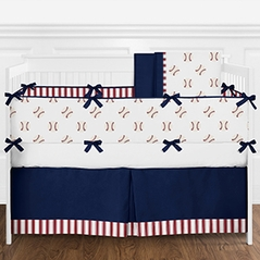 Red, White and Navy Blue Baseball Sports Baby Boy Crib Bedding Set with Bumper by Sweet Jojo Designs - 9 pieces