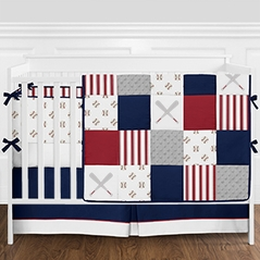 Red, White and Navy Blue Patchwork Baseball Sports Baby Boy Crib Bedding Set with Bumper by Sweet Jojo Designs - 9 pieces
