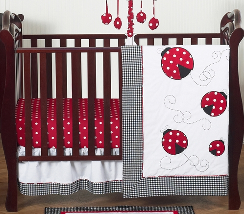 Red & White Polka Dot Ladybug Baby Bedding - 4pc Crib Set - Click to enlarge