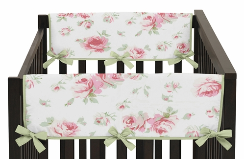 Riley's Roses Baby Crib Side Rail Guard Covers by Sweet Jojo Designs - Set of 2 - Click to enlarge