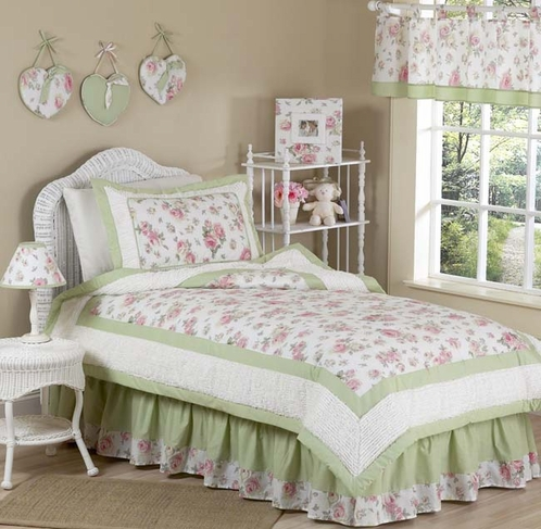 Riley's Roses Chenille Floral Childrens Bedding - 4 pc Twin Set - Click to enlarge