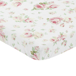Pink, Sage and White Floral Baby Fitted Mini Portable Crib Sheet for Riley Roses Collection by Sweet Jojo Designs