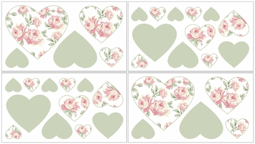 Riley's Roses Kids and Teens Flowers Wall Decal Stickers - Set of 4 Sheets - Click to enlarge