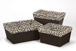Set of 3 One Size Fits Most Basket Liners for Animal Safari Bedding Sets by Sweet Jojo Designs