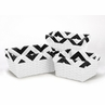 Set of 3 One Size Fits Most Basket Liners for Black and White Chevron Bedding Sets