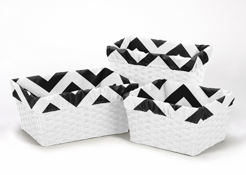 Set of 3 One Size Fits Most Basket Liners for Black and White Chevron Bedding Sets - Click to enlarge