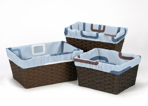 Set of 3 One Size Fits Most Basket Liners for Blue and Brown Geo Collection Bedding Sets - Click to enlarge