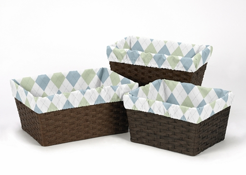 Set of 3 One Size Fits Most Basket Liners for Blue and Green Argyle Bedding Sets - Click to enlarge