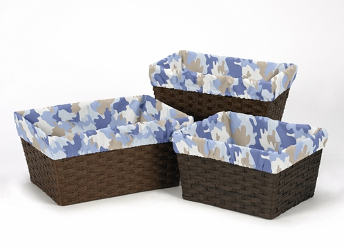 Set of 3 One Size Fits Most Basket Liners for Blue and Khaki Camo Bedding Sets - Click to enlarge