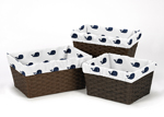 Set of 3 One Size Fits Most Basket Liners for Blue Whale Bedding Sets by Sweet Jojo Designs