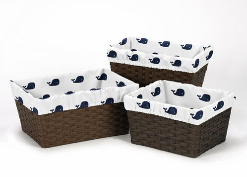 Set of 3 One Size Fits Most Basket Liners for Blue Whale Bedding Sets by Sweet Jojo Designs - Click to enlarge