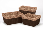 Set of 3 One Size Fits Most Basket Liners for Cheetah Girl Bedding Sets by Sweet Jojo Designs