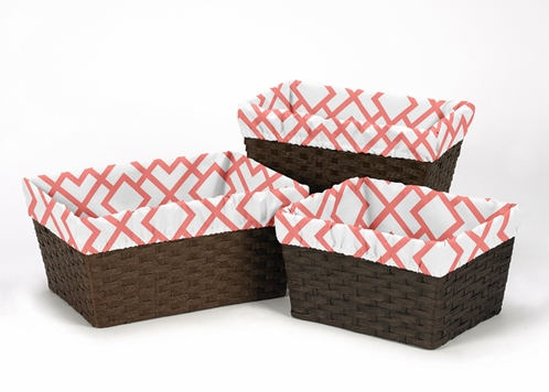 Set of 3 One Size Fits Most Basket Liners for Coral and White Diamond Bedding Sets by Sweet Jojo Designs - Click to enlarge