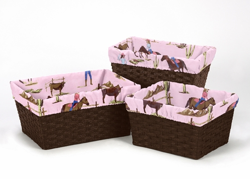 Set of 3 One Size Fits Most Basket Liners for Cowgirl Bedding Sets by Sweet Jojo Designs - Cowgirl Print - Click to enlarge
