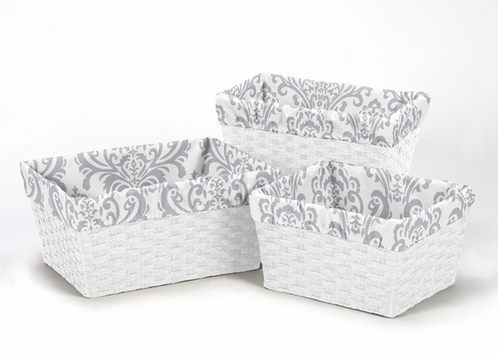 Set of 3 One Size Fits Most Basket Liners for Damask Bedding Sets by Sweet Jojo Designs - Click to enlarge