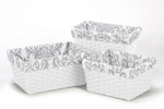 Set of 3 One Size Fits Most Basket Liners for Damask Bedding Sets by Sweet Jojo Designs