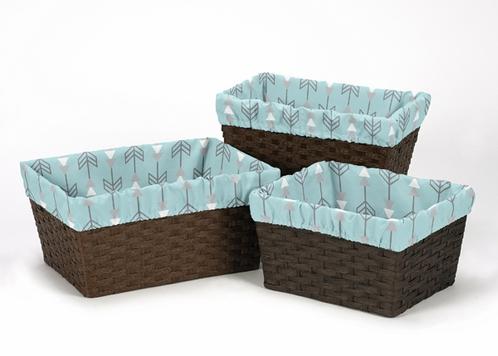 Set of 3 One Size Fits Most Basket Liners for Earth and Sky Bedding Sets - Click to enlarge