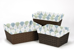 Set of 3 One Size Fits Most Basket Liners for Go Fish Bedding Sets