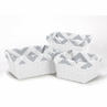 Set of 3 One Size Fits Most Basket Liners for Gray and White Chevron Bedding Sets