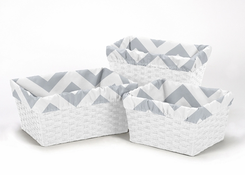 Set of 3 One Size Fits Most Basket Liners for Gray and White Chevron Bedding Sets - Click to enlarge