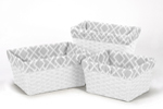 Set of 3 One Size Fits Most Basket Liners for Gray and White Diamond Bedding Sets by Sweet Jojo Designs