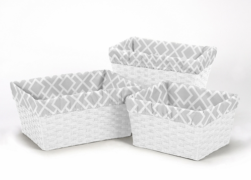 Set of 3 One Size Fits Most Basket Liners for Gray and White Diamond Bedding Sets by Sweet Jojo Designs - Click to enlarge