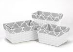 Set of 3 One Size Fits Most Basket Liners for Gray and White Trellis Bedding Sets