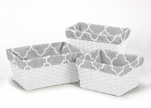Set of 3 One Size Fits Most Basket Liners for Gray and White Trellis Bedding Sets - Click to enlarge