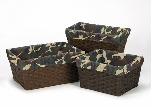 Set of 3 One Size Fits Most Basket Liners for Green Camo Bedding Sets - Click to enlarge