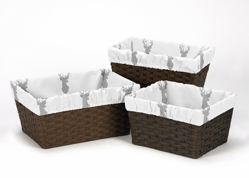 Set of 3 One Size Fits Most Basket Liners for Grey and White Woodland Deer Bedding Sets by Sweet Jojo Designs - Click to enlarge