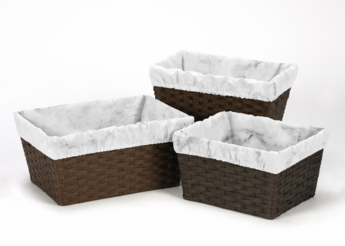 Set of 3 One Size Fits Most Basket Liners for Grey, Black and White Marble Bedding Sets by Sweet Jojo Designs - Click to enlarge