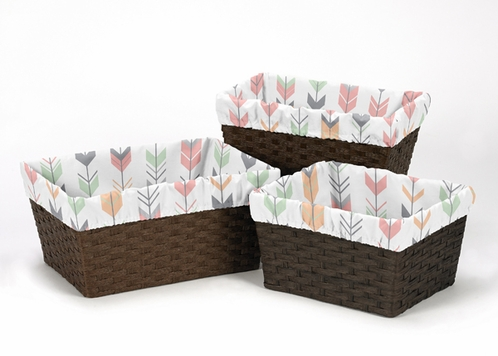 Set of 3 One Size Fits Most Basket Liners for Grey, Coral and Mint Woodland Arrow Bedding Sets by Sweet Jojo Designs - Click to enlarge