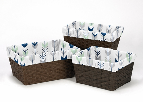 Set of 3 One Size Fits Most Basket Liners for Grey, Navy Blue and Mint Woodland Arrow Bedding Sets by Sweet Jojo Designs - Click to enlarge