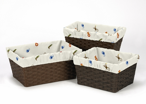 Set of 3 One Size Fits Most Basket Liners for Jungle Time Bedding Sets - Click to enlarge
