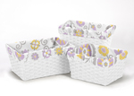 Set of 3 One Size Fits Most Basket Liners for Lavender and White Suzanna Bedding Sets