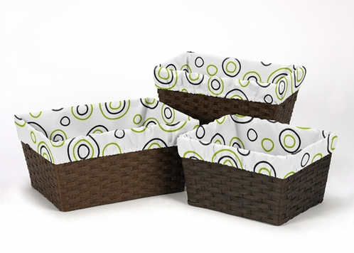 Set of 3 One Size Fits Most Basket Liners for Lime and Black Spirodot Bedding Sets - Click to enlarge
