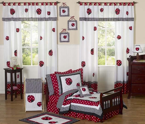 Red and White Polka Dot Ladybug Toddler Bedding - 5 pc Set - Click to enlarge