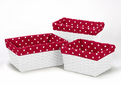 Set of 3 One Size Fits Most Basket Liners for Little Ladybug Bedding Sets by Sweet Jojo Designs - Polka Dot - Click to enlarge