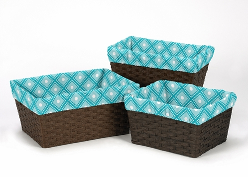 Set of 3 One Size Fits Most Basket Liners for Mod Elephant Bedding Sets by Sweet Jojo Designs - Click to enlarge