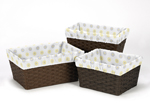 Set of 3 One Size Fits Most Basket Liners for Mod Garden Bedding Sets