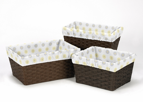 Set of 3 One Size Fits Most Basket Liners for Mod Garden Bedding Sets - Click to enlarge
