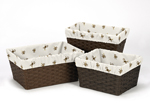 Set of 3 One Size Fits Most Basket Liners for Monkey Time Bedding Sets