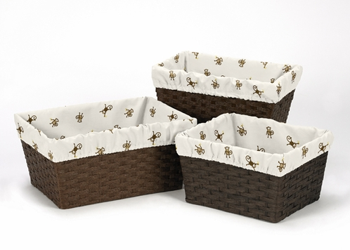 Set of 3 One Size Fits Most Basket Liners for Monkey Time Bedding Sets - Click to enlarge