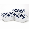 Set of 3 One Size Fits Most Basket Liners for Navy and white Chevron Bedding Sets