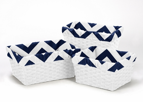 Set of 3 One Size Fits Most Basket Liners for Navy and white Chevron Bedding Sets - Click to enlarge