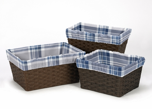 Set of 3 One Size Fits Most Basket Liners for Navy Blue and Grey Plaid Bedding Sets - Click to enlarge