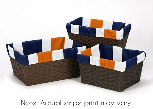 Set of 3 One Size Fits Most Basket Liners for Navy Blue and Orange Stripe Bedding Sets - Click to enlarge