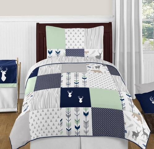 Navy Blue Mint And Grey Woodsy Deer 4pc Twin Boy Bedding